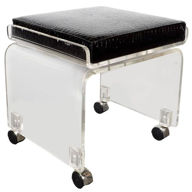 Mid-Century Lucite and Black Faux Crocodile Upholstery Swivel Stool or Bench For Sale - Image 10 of 10