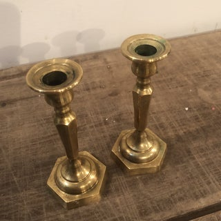 Vintage Brass Hexagonal Base Candlesticks - a Pair Preview