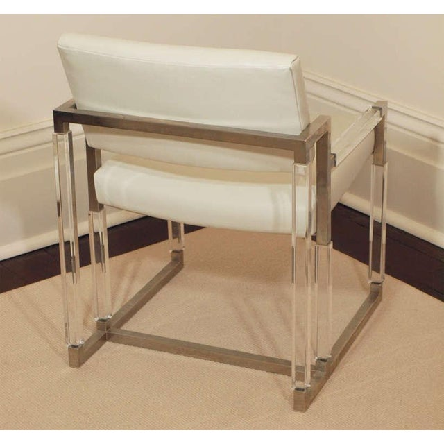 "White Charles Hollis Jones ""Metric Line"" Chair & Ottoman - A Pair For Sale - Image 8 of 11"