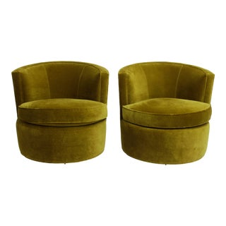 Forest Green Velvet Swivel Barrel Chairs After Milo Baughman For Sale
