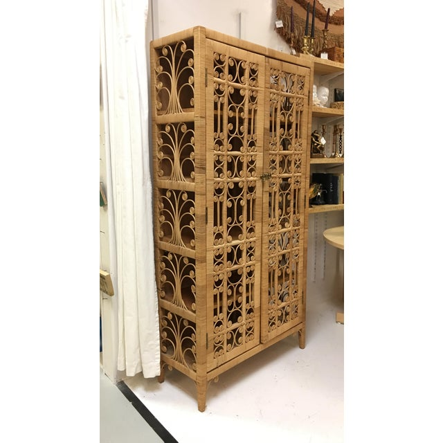 Bohemian Rattan Storage Cabinet For Sale - Image 6 of 11