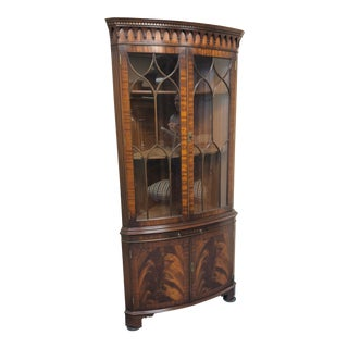 1990s Regency Bevan Funnell Mahogany Corner Cabinet For Sale