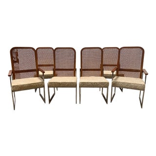 Mid Century Modern Milo Baughman for Lane Cane & Chrome Dining Chairs- Set of 6 For Sale
