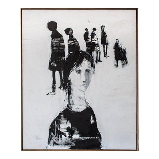 1970s Black & White Oil on Canvas Painting by G. Hollander For Sale