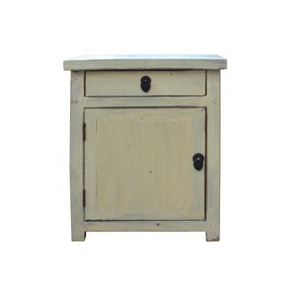 Chinese Oriental Distressed Cream Off White End Table Nightstand For Sale