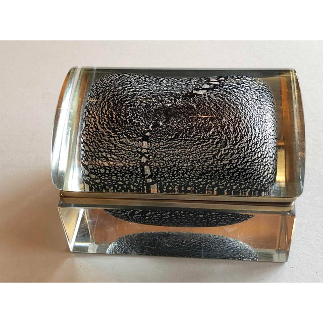 Black Italian Mid Century Silver Leaf and Black Murano Sommerso Box For Sale - Image 8 of 9