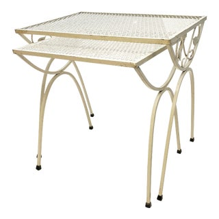 Mid Century Modern White Metal Mesh Nesting Tables - A Pair