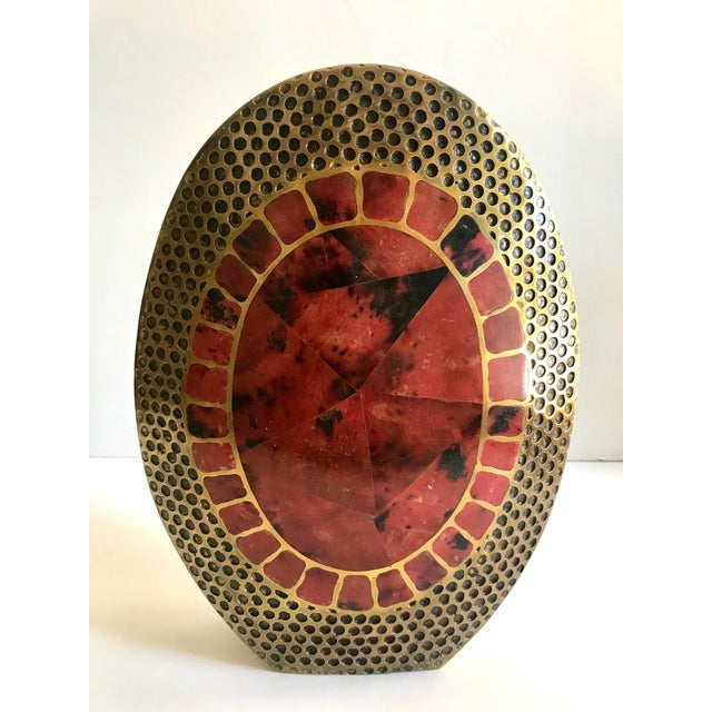 Vintage R & Y Augousti Ovoid Vase in Solid Bronze and Exotic Mosaic Pen-Shell For Sale - Image 13 of 13