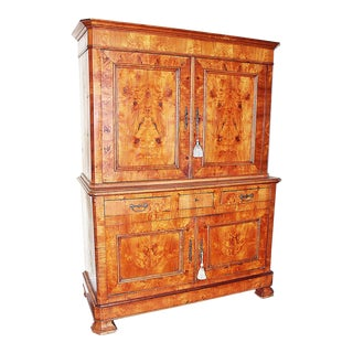 19th Century French Linen Press Armoire For Sale