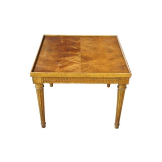 Baker Furniture French Neoclassical Crotch Walnut Side Accent Tea Table For Sale