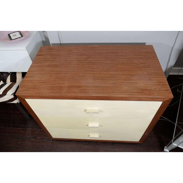 Modern Custom Parchment End Table with Walnut Wood Frame For Sale - Image 3 of 8