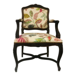 Antique Floral Upholstered French Style Chair For Sale