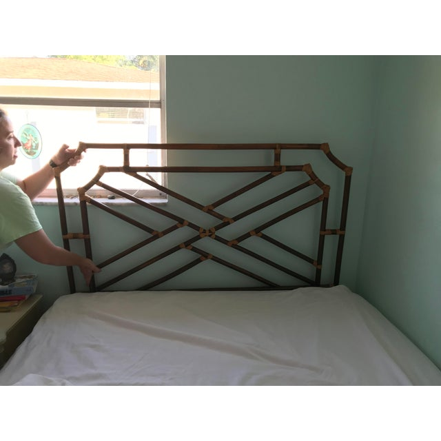 Wood Vintage Chippendale Double or Queen Bamboo Pagoda Headboard For Sale - Image 7 of 9