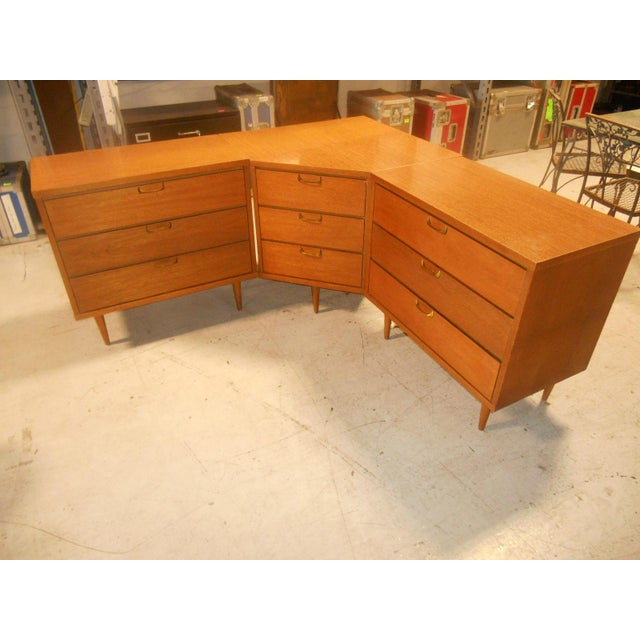 Rare Mid-Century Danish Modern 3 Piece Corner Bedroom Dresser Set. This set is in fantastic condition with little wear or...