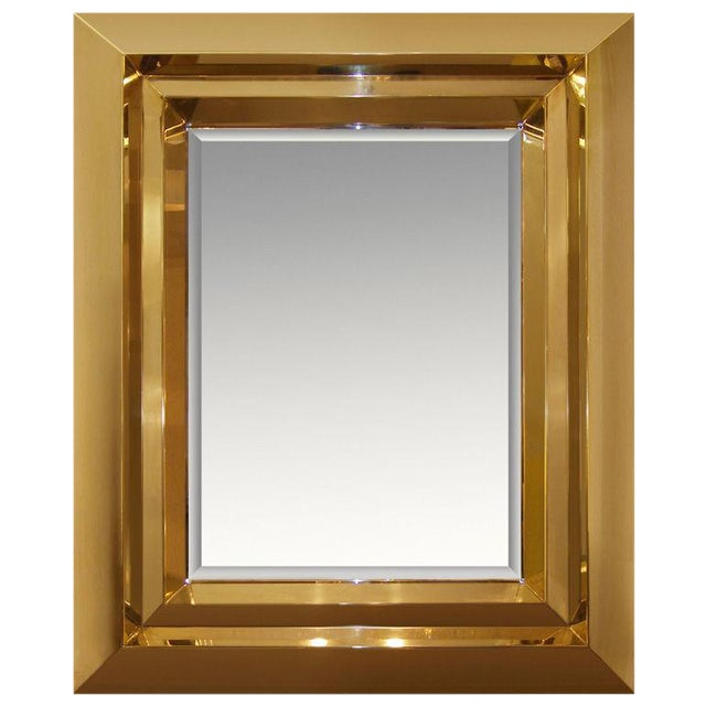 Custom Brass Beveled Mirror / 1617 For Sale