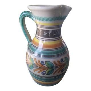 Vintage Spanish Stoneware Pottery Pitcher For Sale