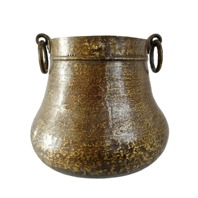 Mid 20th Century Vintage Brass Hammered Pot For Sale - Image 5 of 5