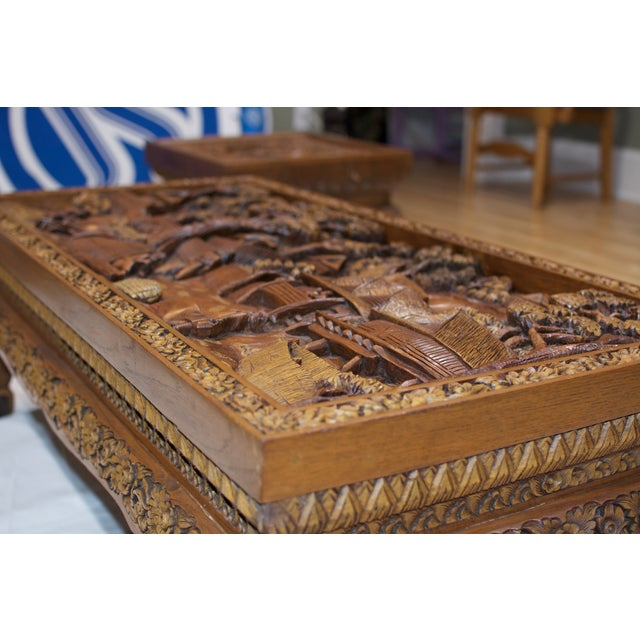 Asian Hand-Carved Teak Coffee Table For Sale In New Orleans - Image 6 of 9