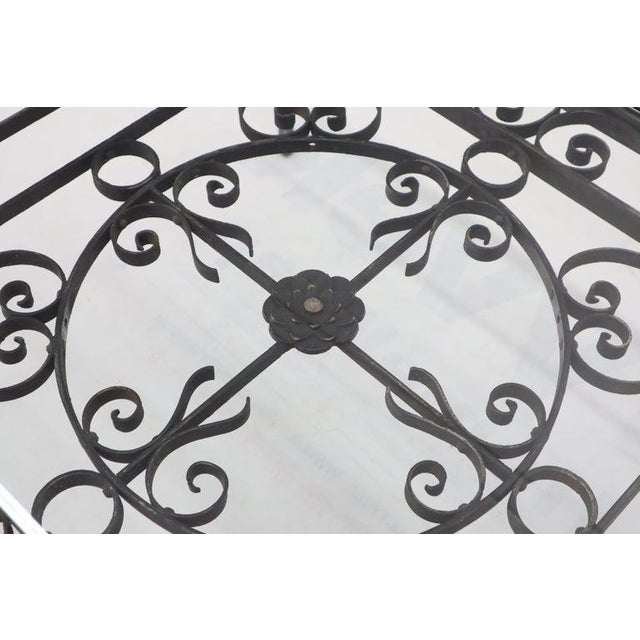 Massive Wide Rectangle Glass Top Wrought Iron Coffee Center Table For Sale - Image 9 of 11