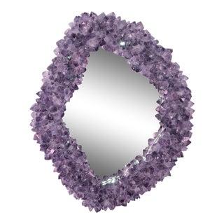 "Amethyst Encrusted Violette Dennis Mirror By Marjorie Skouras, Organic Shape, Purple, 21""x24"""