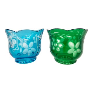 Czech Bohemian Mid-Century Colored Cut Crystal Glasses- A Pair For Sale