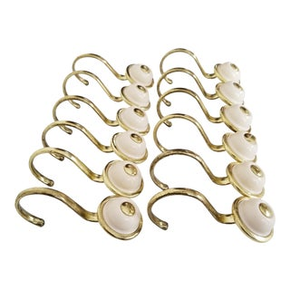 Mid Century Modern Brass & Cream Plastic Curtain Hooks - Set of 12 For Sale