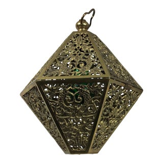 Hollywood Regency Octagonal Brass Filigree Hanging Lamp on Brass Link Chains For Sale