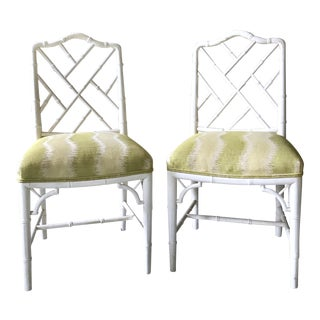1960s Chinese Chippendale Style Century Furniture Faux Bamboo Chairs - a Pair