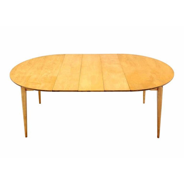 Mid-Century Modern Round Birch Dining Table with Three Leaves For Sale - Image 3 of 6