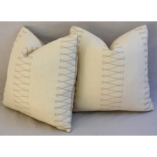 "Cotton Designer Old World Weavers Cuba Libre Feather/Down Pillows 20"" Square - Pair For Sale - Image 7 of 8"