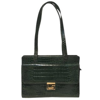 Gucci Vintage Green Alligator Shoulder Bag For Sale