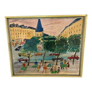 1990s Expressionist Parisian Cityscape Acrylic Painting by Jean Wallis, Framed For Sale