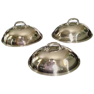 Three Small Silver Dish Covers or Food Warmers, American, 1920s For Sale
