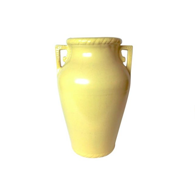 Early American Art Pottery mustard urn-style floor vase. Gentle rope design around rim and at base.