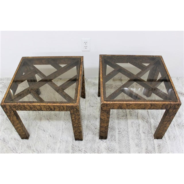Mid-Century Modern Mid Century Modern pair of end tables with glass tops For Sale - Image 3 of 10