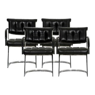 Cal-Style Vintage Modern Polished Chrome and Leather Cantilevered Dining Chairs- Set of 4 For Sale