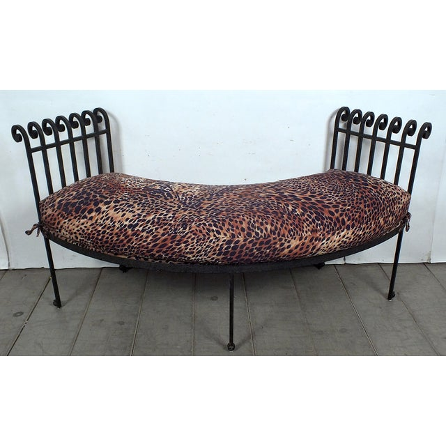 Hammered Iron Upholstered Curved Bench Leopard - Image 8 of 10