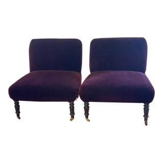 Vintage Velvet Slipper Chairs- a Pair For Sale