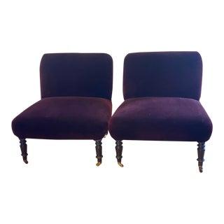 Vintage Velvet Slipper Chairs- a Pair For Sale