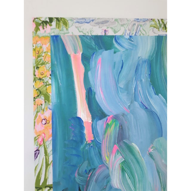 """Textile Frances Sousa """"Get Ready for the Flood"""" Contemporary Abstract Floral Acrylic Painting on Vintage Textile For Sale - Image 7 of 11"""