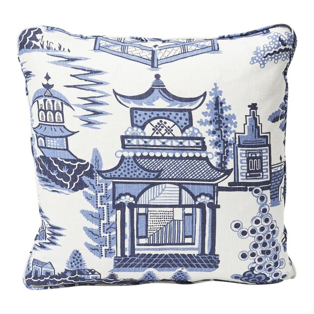 Textile Schumacher Double-Sided Pillow in Nanjing Print For Sale - Image 7 of 8
