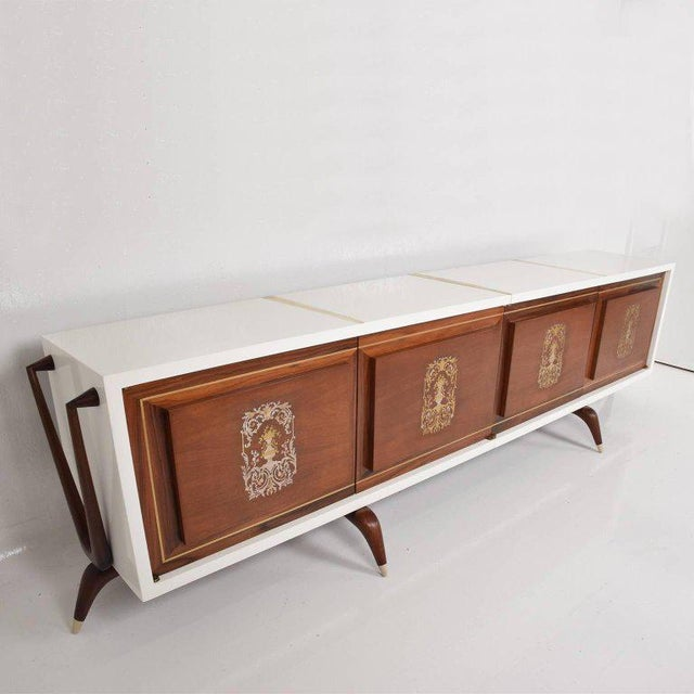 Stunning and Rare Mid-Century Modernist Custom Credenza, Mexico, 1950s For Sale - Image 4 of 12
