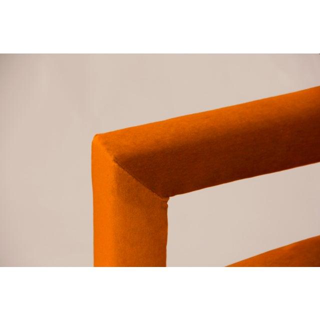 BOND Design Studio Milo Baughman Style Parsons Sofa Reupholstered in Orange Velvet For Sale - Image 4 of 6