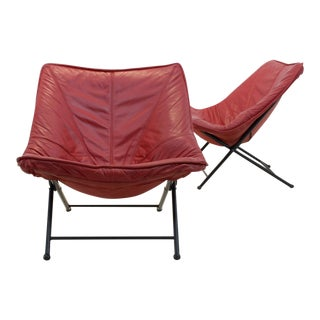 Exclusive Molinari Foldable Easy Chairs Designed by Teun Van Zanten, 1970s