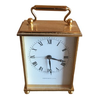 Vintage 1960s Tiffany & Co. Carriage Mechanical 8 Day 15 Jewel Clock For Sale