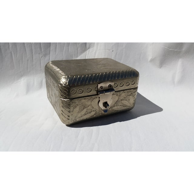 Vintage Metal Covered Wooden Box - Image 4 of 5