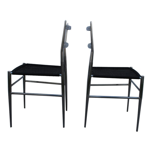 """""""Gio Ponti"""" Style Chrome Plated Steel Chairs - A Pair - Image 3 of 4"""