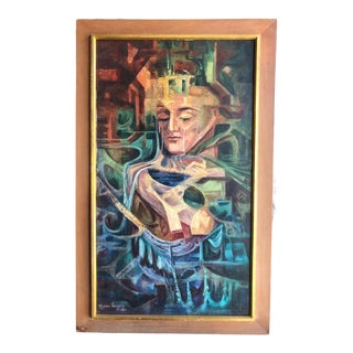 "1960s Vintage Marino Vergara ""Capricho Onirico"" Abstract Signed Cubist Painting For Sale"