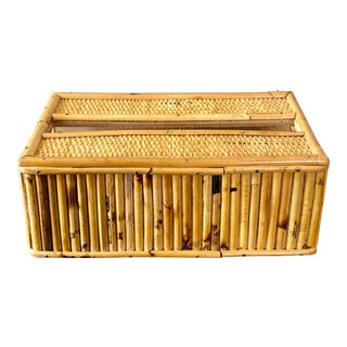 Mid Century Burnt Pencil Reed Rattan Tissue Box Cover For Sale