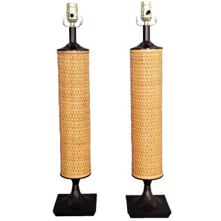 1960s Vintage Wicker Lamps-A Pair- Restored-Mid Century Modern MCM Palm Beach Boho Chic Tropical Coastal Tree Bamboo For Sale